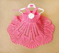 Pink Crochet baby dress, Handmade girl dress, White Flower Dress