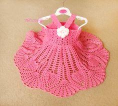 Pink Crochet baby dress, Handmade girl dress, White Flower Dress