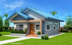 Another concept of three bedroom Bungalow House plan with total floor area of 82 square meters is conceptualized with blue color combinations. Roof is pale blue long span ribbed type pre-painted ga… Simple House Plans, Beautiful House Plans, My House Plans, Bedroom House Plans, Modern House Plans, House Roof Design, Simple House Design, Modern Bungalow House, Bungalow House Plans