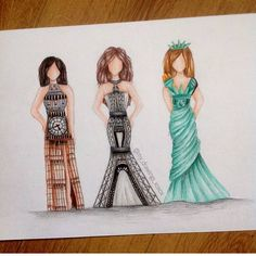 "Art featuring page op Instagram: ""Big Ben, Eiffel Tower And Statue Of Liberty Dresses By @my_drawings_xoxox _ #arts_helps"""