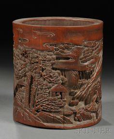 CHINESE BRUSH POTS | 457: Bamboo Brush Pot, China, late 18th century, cylind : Lot 457