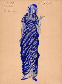 Boris Anisfeld (1879-1973). Sadko, Costume design for Silver Fish in Sea Kingdom scene, 1911. Pencil, watercolor, and silver paint. Howard D. Rothschild Collection. pf MS Thr 414.4 (2). Bequest, 1989.