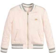 Girls pale pink viscose satin varsity jacket byChloé. It is lightly padded with a satin lining and zip to fasten on the front. It has a cute rainbow appliqué and embroidered logo on the chest. The sleeves are quilted and the collar, cuffs and hem have grey and white striped ribbing. Model: Height 114cm (average 5 year) Size of jacket shown in the photo: 4 years