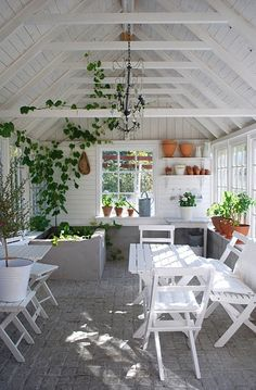 This looks like a combo garden shed and summer room. I love how bright and airy it is. I don't know anything about this room, but, if heated, and with the addition of some comfy pillows and throws, imagine how wonderful this room might be in the middle of a nasty, cold, snowy winter (kinda like the one many of us just experienced)? I want one!