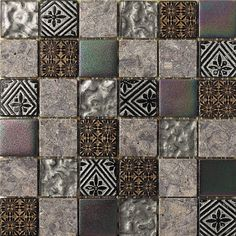 "2"" x 2"" Stone / Glass Mosaic Tile in 3 Color Blend"