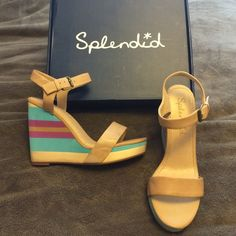 Splendid wedge sandals. Super cute! Tan, Aqua, fuchsia colored wedge sandals. Only tried on indoors. Never worn. I wear a 9 and these fit me only slightly lose. Could use Tiptoes for fit. New in original box. Splendid Shoes Sandals