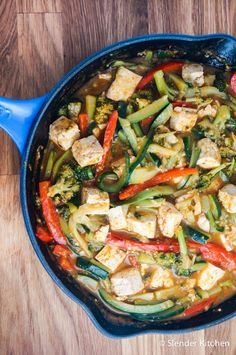 Thai Red Curry Tofu with Zucchini Noodles - Slender Kitchen This recipe is Clean Eating, Gluten Free, Low Carb, Vegan, Vegetarian, and Weight Watchers:registered:.