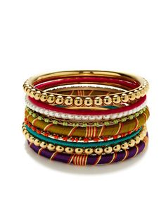 Set of 9 Multicolor Thread Wrapped Bangles by R.J. Graziano on Gilt.com