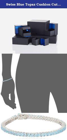 Swiss Blue Topaz Cushion Cut Tennis Bracelet in Sterling Silver (3mm). Imported.