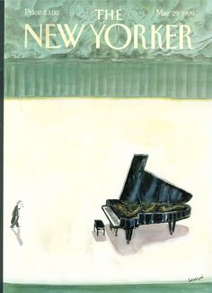 "The New Yorker - Monday, March 1999 - Issue # 3837 - Vol. 75 - N° 5 - Cover ""Slight Anxiety"" by ""Sempé"" - Jean-Jacques Sempé The New Yorker, New Yorker Covers, Old Magazines, Vintage Magazines, Magazine Art, Magazine Design, Magazine Covers, Music Illustration, Piano Cover"