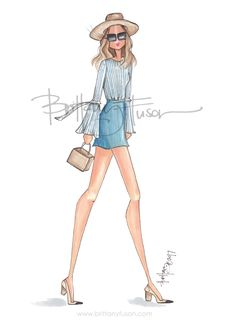 Jacey | spring trends | bell sleeves | straw hat | fashion illustration | Brittany Fuson http://amzn.to/2rWd637