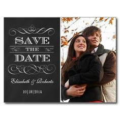 Easy to Customize Vintage Chalkboard Save-the-Date Postcards #Weddings