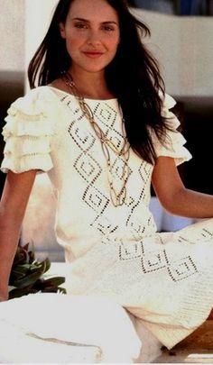 Белое ажурное платье - схемы вязания и описание