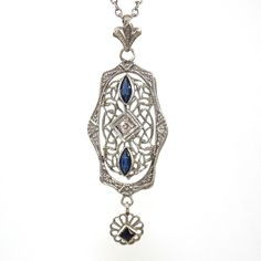 "10K White Gold Art Deco Diamond Blue Stone Filigree Pendant Necklace 15.5"" ZD"