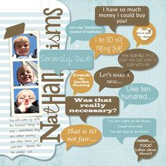 Neat idea for adding children's sayings + love the colors; page by Heather Summers
