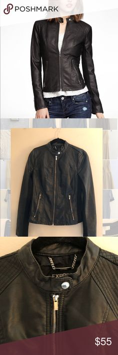 Black leather jacket Good condition black leather jacket from Express Express Jackets & Coats Blazers