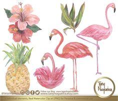 Flamingos Hibiscus Hawaii Piña Acuarela Clipart png hecho