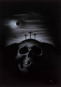 """Golgotha"" (2009) acrylics on illustration board, 70 x 50 cm / 27.3 x 20 in. I painted this before the Easter weekend this year"