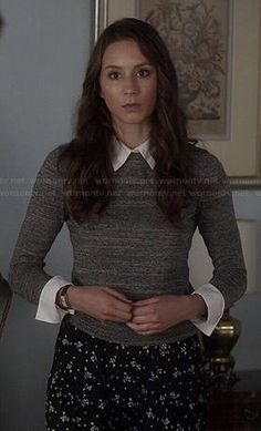 Spencer's grey sweater with white collar and black floral pants on Pretty Little Liars.  Outfit Details: http://wornontv.net/43035/ #PLL