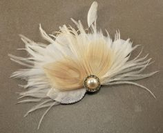 Ivory Bridal Hair Accessories Champagne Peacock Feather Fascinator Wedding Hair Clip Vintage Velvet Leaves - Made to Order - PEGGY. $55.00, via Etsy.