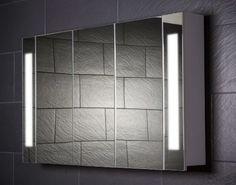 Popular Spiegelschrank Galdem CURVE gro er Badezimmerschrank cm t rig mit trendiger Beleuchtung T Leuchtstofflampe