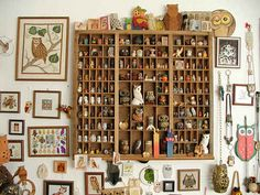 Collections// OWLS!! Look at those shelves!