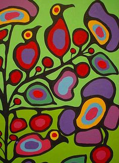 Norval Morriseau,,, the green floral Native Art, Native American Art, Aboriginal Day, Arte Tribal, Woodland Art, Inuit Art, Collages, Indigenous Art, Canadian Artists