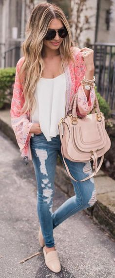 #spring #outfits Pink Floral Kimono + White Tank + Ripped Skinny Jeans