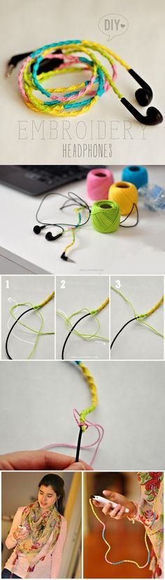 Diy Projects: DIY Embroidery Headphones- For my seester! Decorar auriculares de celular telefono mp4 facil color divertido creativo barato resistente regalo