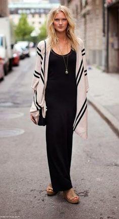 Black Maxi Dress With Cardigan by larita