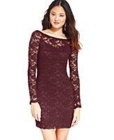 Material Girl Juniors' Boat-Neck Lace Dress