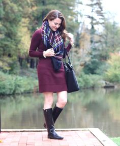Women's Fashion: Burgundy sweater dress, plaid blanket scarf, tall black boots, and black tote.  Perfect outfit for Thanksgiving or any fall family gathering on Peaches In A Pod blog.