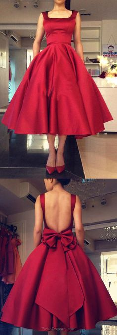 Red Prom Dresses,Simple Prom Dresses Ball Gown, Square Neckline Prom Dresses Satin with Bow, Backless Prom Dresses Tea-length #reddresses