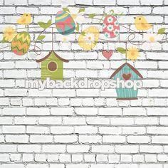 Exclusive Design! 7ft x 7ft Birdhouses on String on White Brick Backdrop – Spring or Easter Backdrop - Vinyl - Item 1829