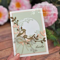 Pink Crafts, Paper Crafts, Bird On Branch, Bird Cards, Flower Cards, Creative Cards, Stampin Up Cards, Your Cards, Thank You Cards