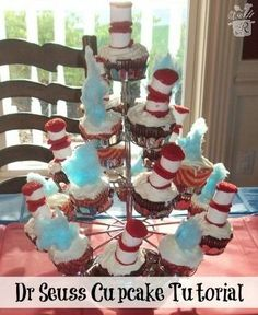 Cat in the Hat & Thing 1 and Thing 2 Cupcakes