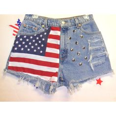 Vintage Levis High Waisted Denim Shorts - American Flag Style-- Waist... ($50) ❤ liked on Polyvore