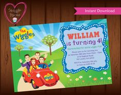 The Wiggles Invitation The Wiggles Invite for by SquiggleParties Wiggles Party, Wiggles Birthday, The Wiggles, 2nd Birthday Parties, Birthday Bash, Birthday Party Invitations, Birthday Ideas, Emma Wiggle, Diy Party