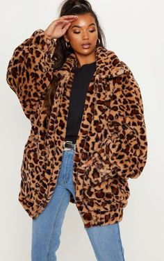 61bd80397732 Tan Leopard Faux Fur Pocket Front Coat