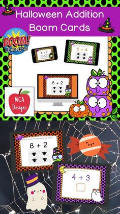 My Halloween Addition Digital Task Card set includes 40 task cards which are accessed via Boom Learning. Each digital task cards focuses basic addition facts 0-20. All task cards are accented with bright colors and Halloween themed graphics. #teacherspayteachers #tpt #boomcards #boomlearning #addition