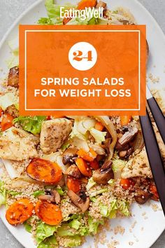 Enjoy a fresh and flavorful salad that's perfect for spring. These main and side dish salads are packed with seasonal produce and low in calories. Each salad is also high in fiber, which is an important nutrient that can help you feel full for longer periods of time. #salads #saladrecipes #healthysalads #saladideas #healthyrecipes Soup And Salad, Pasta Salad, Healthy Salads, Healthy Eating, Spring Salad, In Season Produce, Bean Salad, Salad Recipes, Side Dishes