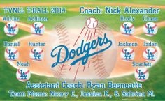 Dodgers digitally printed vinyl baseball and little league sports team banner. Made in the USA and shipped fast by Banners USA. http://www.bannersusa.com/art/templates_2/digital/banners/vinyl-baseball-team-banners.php