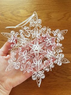 Extra Special Large Quilled Snowflake Ornament Decorated With Swarovski Crystals Extra Special Large Quilled Snowflake Ornament Decorated With Neli Quilling, Paper Quilling Patterns, Quilled Paper Art, Quilling Paper Craft, Paper Crafts, Quilled Roses, Quilling Comb, Quilling Ideas, Snowflake Ornaments
