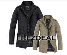 NEW Fashion Mens Jacket Warm Winter Casual Coat Overcoat Outwear Black Military in Clothing, Shoes & Accessories, Women's Clothing, Coats & Jackets Winter Trench Coat, Men's Fashion Brands, Fashion Bags, Winter Fashion Casual, Slim Fit, Mens Fashion, Trendy Fashion, Hot, Clothes