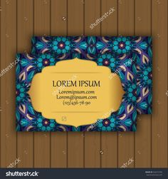 Vector Vintage Visiting Or Business Card Set. Floral Mandala Pattern And Ornaments. Oriental Design Layout. Islam, Arabic, Indian, Ottoman Motifs. Front Page And Back Page. - 526315705 : Shutterstock