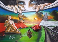 """Behind the Sky"" - Oil on canvas. Mihai Adrian Raceanu, Painter from Romania #art #painter #painting #surrealism"