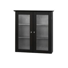 Elegant Home Fashions Chesterfield Wall Cabinet with Two Glass Doors | Wayfair