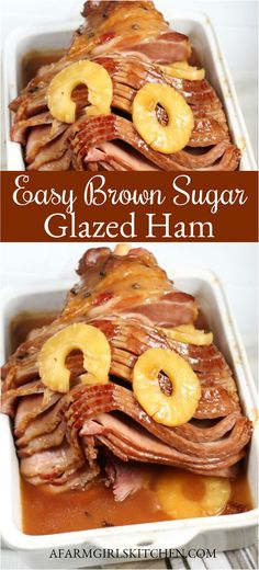 Delicious spiral cut ham slow cooked in the oven with brown sugar pineapple slices and cloves this delicious brown sugar glazed ham is perfect for holiday dinners brownsugarham honeyham spiralcut spiralcutham pineappleglaze brownsugar ham hamrecipe easter Ham Brown Sugar Pineapple, Baked Ham With Pineapple, Ham Glaze Brown Sugar, Honey Glazed Ham, Pineapple Recipes, Pineapple Slices, Pineapple Ham Glaze, Honey Ham, Ham Slices Recipes
