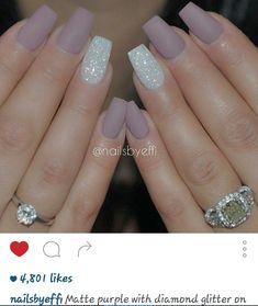 Matte purple with diamond glitter on ring finger nails - #nails #nail art #nail #nail polish #nail stickers #nail art designs #gel nails #pedicure #nail designs #nails art #fake nails #artificial nails #acrylic nails #manicure #nail shop #beautiful nails #nail salon #uv gel #nail file #nail varnish #nail products #nail accessories #nail stamping #nail glue #nails 2016