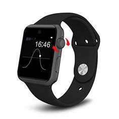 IMacwear i9 Bluetooth Smart Watch with SIM Card Slot 2.5D ARC HD Screen, Pedometer, Wearable Devices Smartphone Fitness Tracker For IOS Android, Samsung and iPhone (Black) >>> Click image for more details.